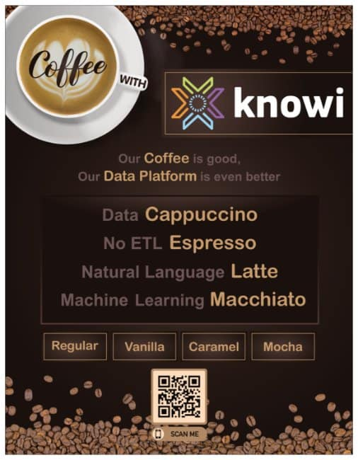 Menu of coffee options we will have available at the Knowi coffee cart at CDAO