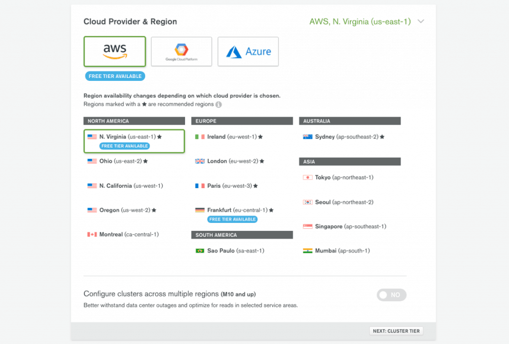 Choose a MongoDB Atlas Cluster and Cloud Provider (Source - mongodb.com)