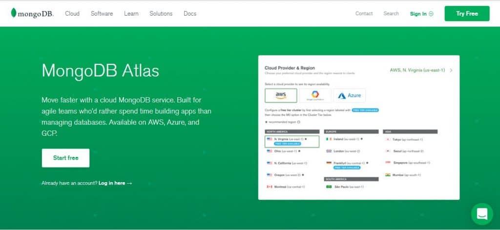 MongoDB Atlas Landing Page (Source - mongodb.com)