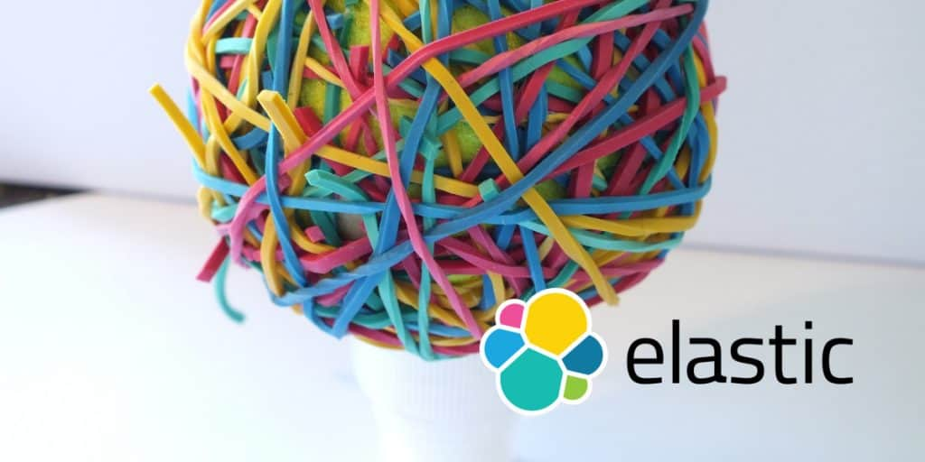 ball of rubberbands with elasticsearch logo superimposed