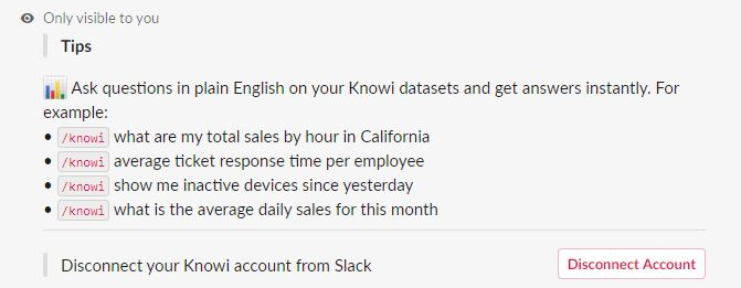 This message confirms Slack access to your Knowi account